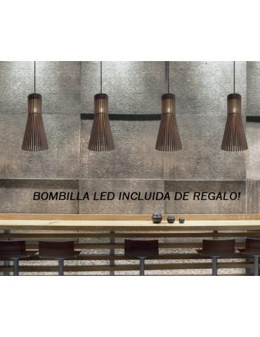 Colgante de Madera Campana Alargada 1xE27