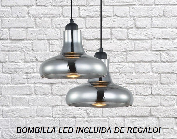 LÁMPARA COLGANTE DE METAL Y CRISTAL COLOR FUMÉ MD4090C SE